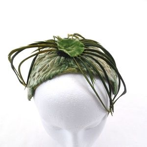 Vintage Feather Fascinator 40s-50s Green